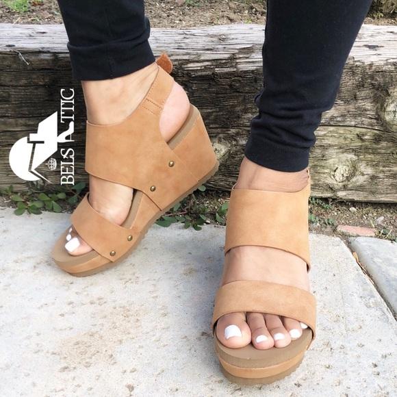 Shoes - Camel Platform Wedge Sandals